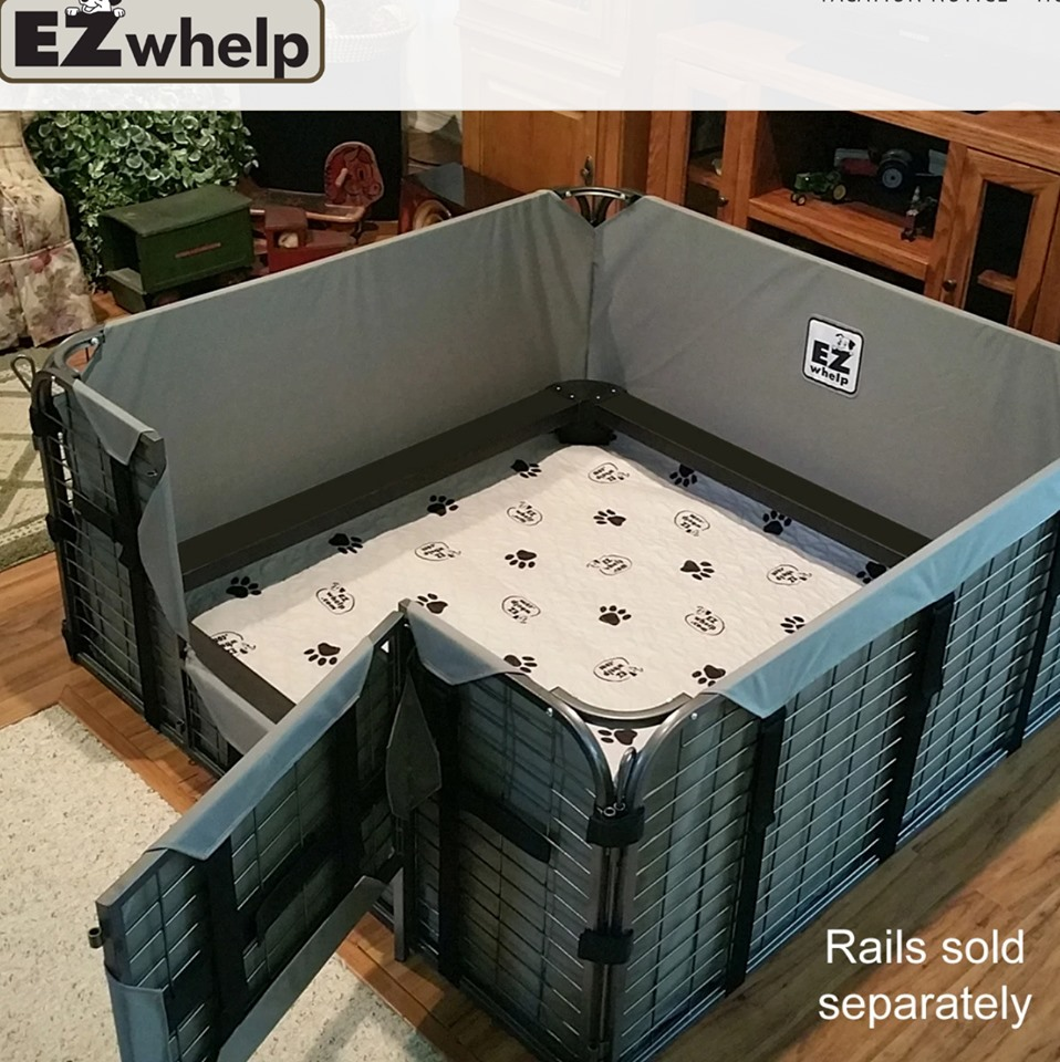 EZ-Whelp Fab System box and all the goodies like pigrails- this box is steel, washable.. all the good things!